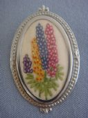 Lupins Pin - 1940s  Hand embroidered Brooch  (Sold)